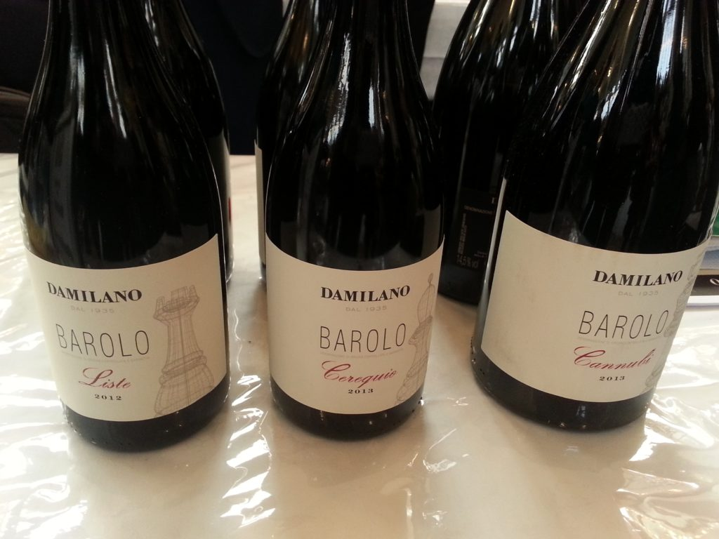 Bottiglie di Barolo azienda piementose Damilano